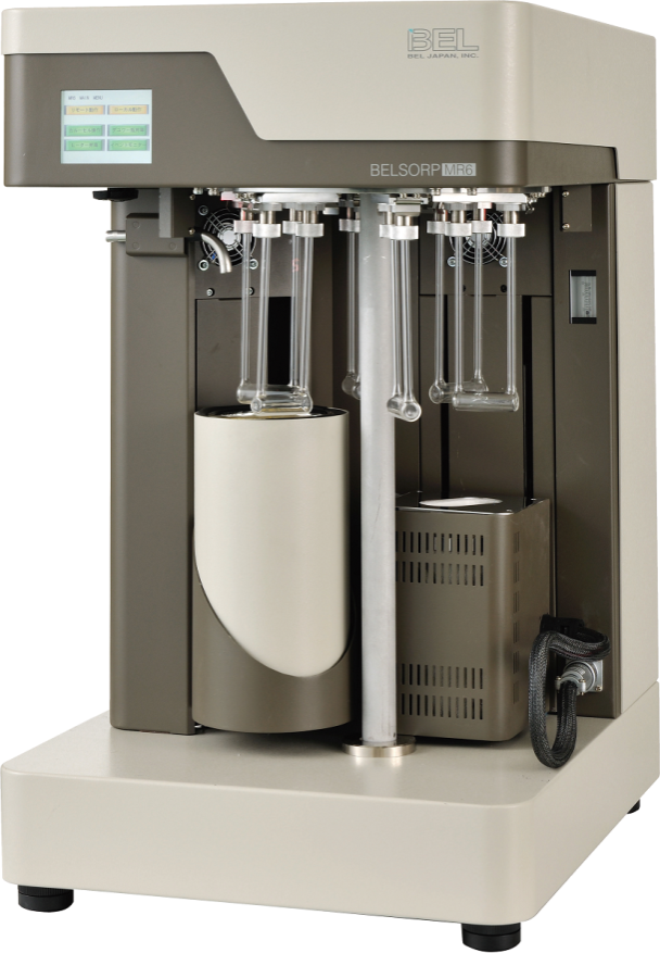 The high throughput BELSORP-MR6 BET surface area analyser has six sample positions, which are pretreated and measured under automatic control