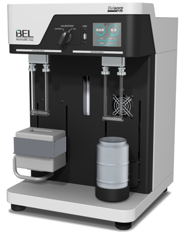The BELSORP-MR1 single point BET surface area analyser, has one measurement port and a pretreatment port.